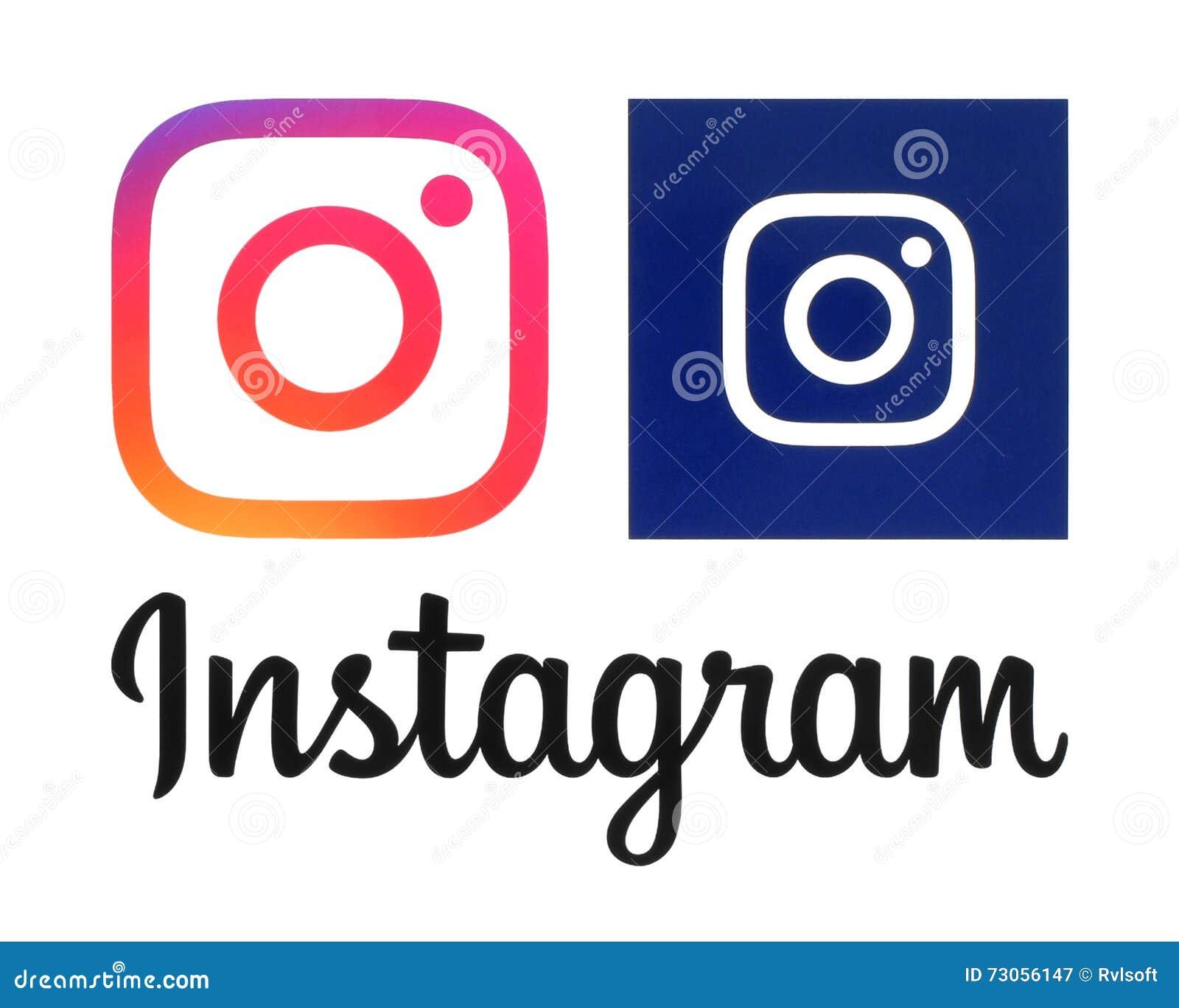Logotipos novos de Instagram impressos