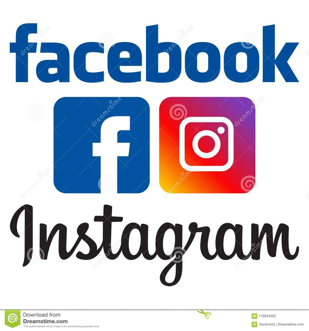 Logotipos oficiais do facebook e do instagram