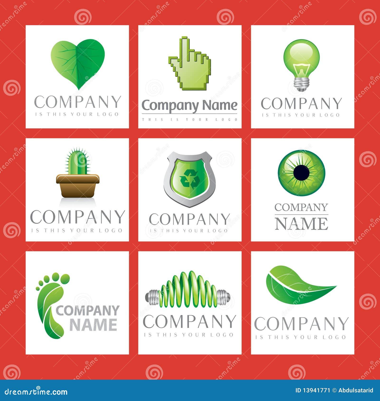Logotipos verdes da companhia
