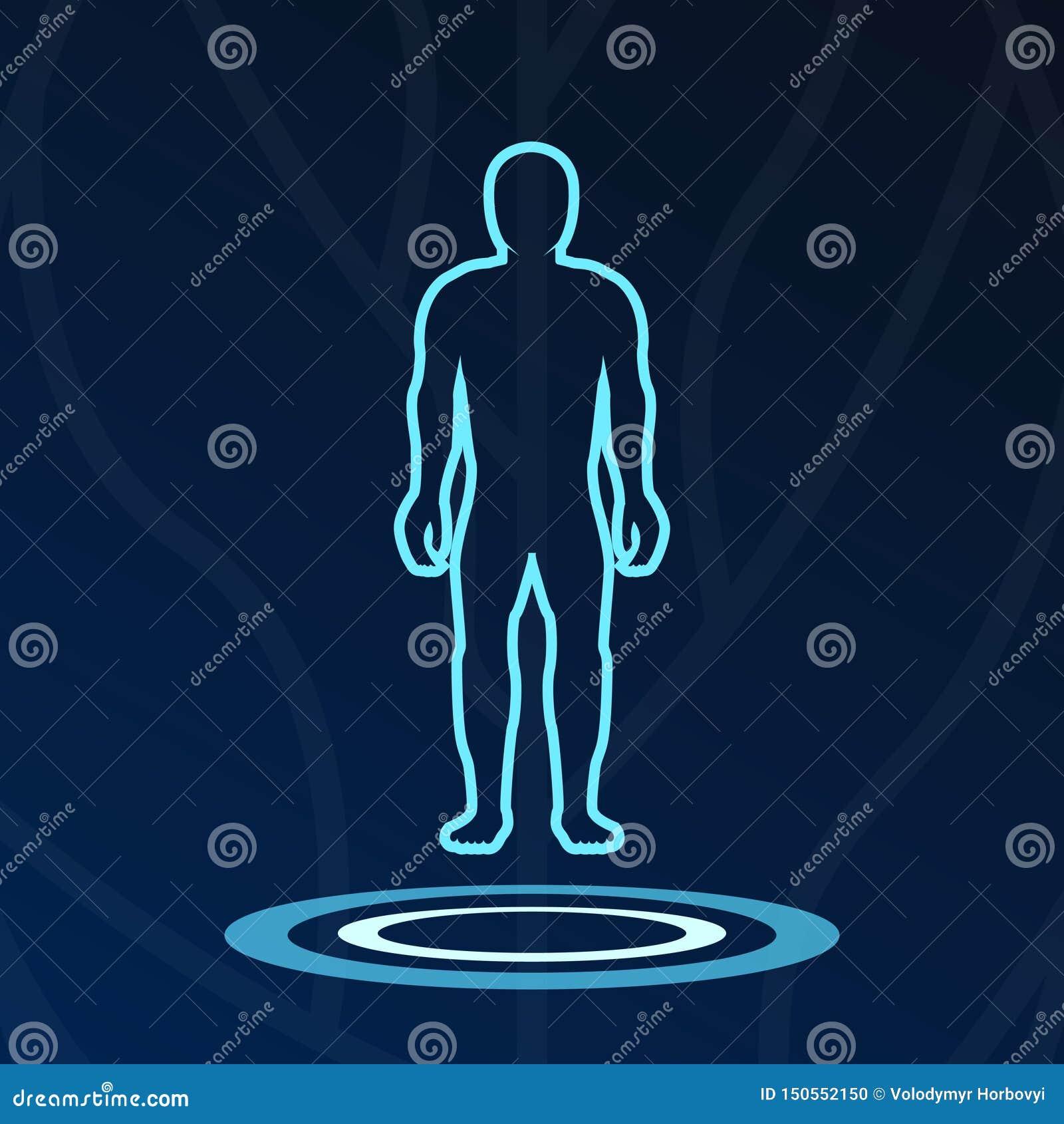 Logotype abstrait de lumières d hologramme de corps