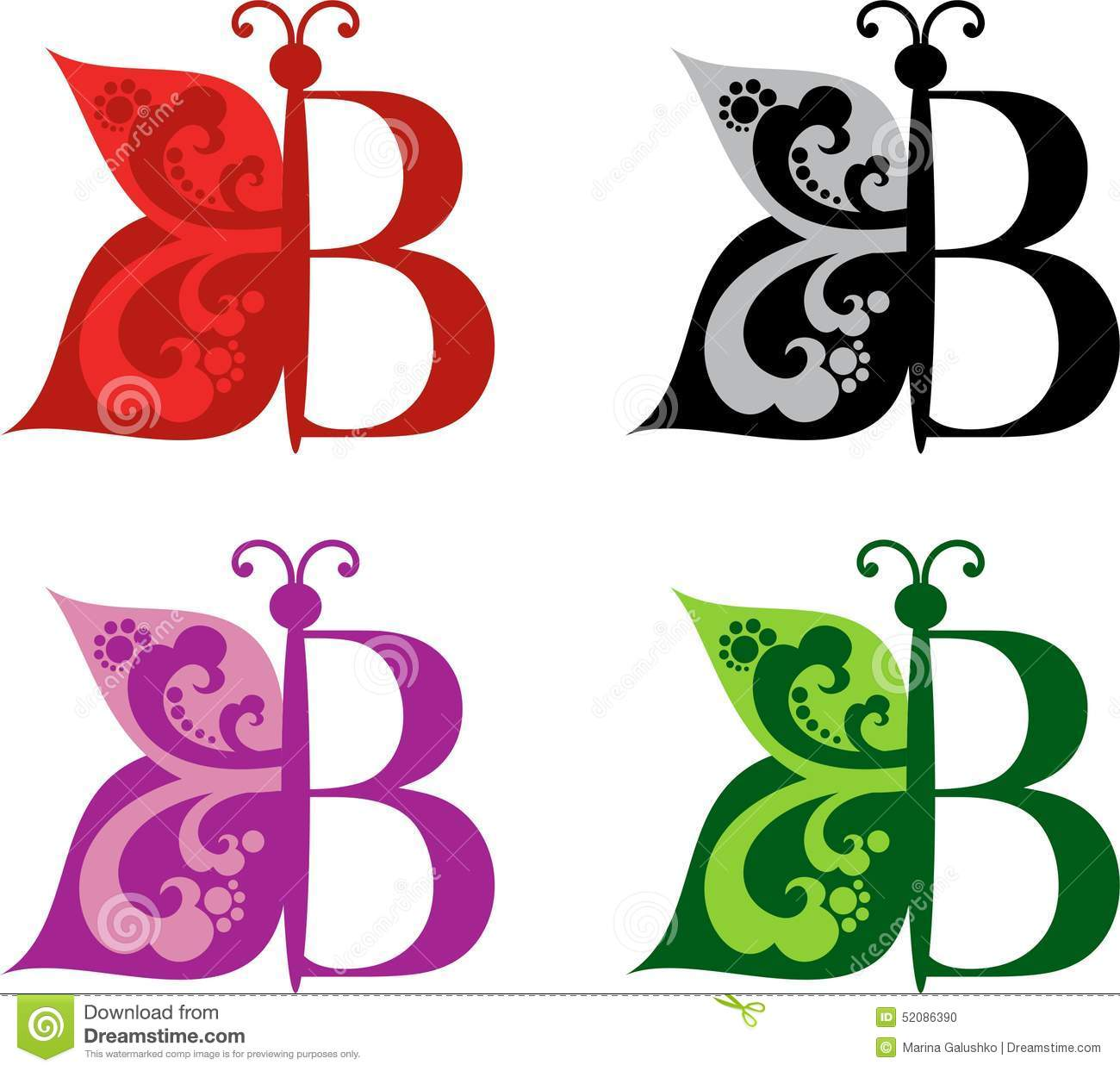 Logotype butterfly and letter b in different colour variants on a - B Background Butterfly Colour Different Letter Logotype Variants