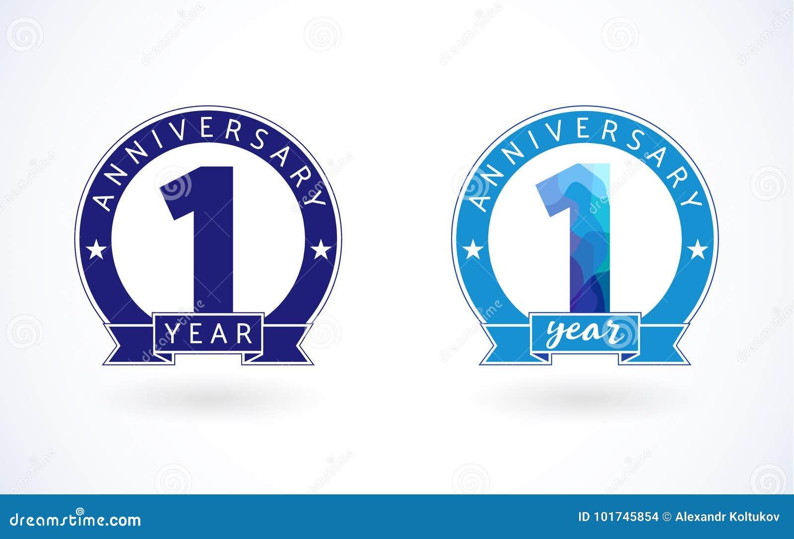 Logotype colorido azul do vidro colorido do bebê de um ano