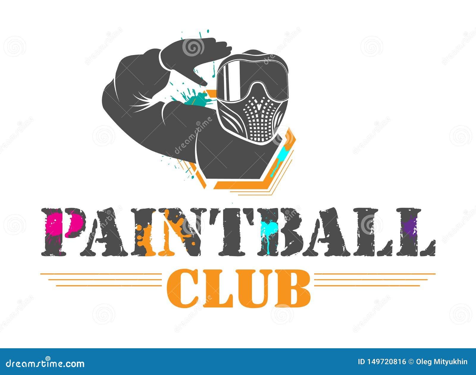 Logotype de club de sport de paintball de ?olorful Homme dans le plein équipement avec des saluts teintés de masque Conception po
