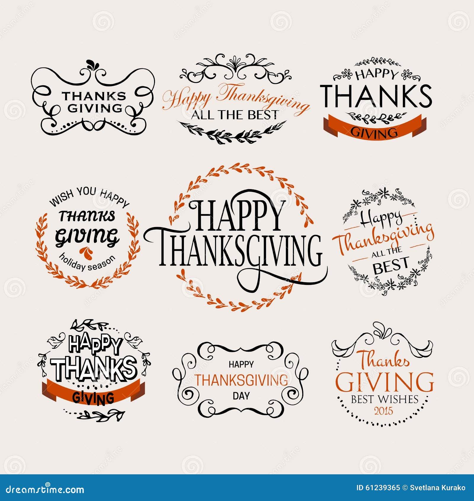 Logotype de jour de thanksgiving, insigne et ensemble heureux d icône