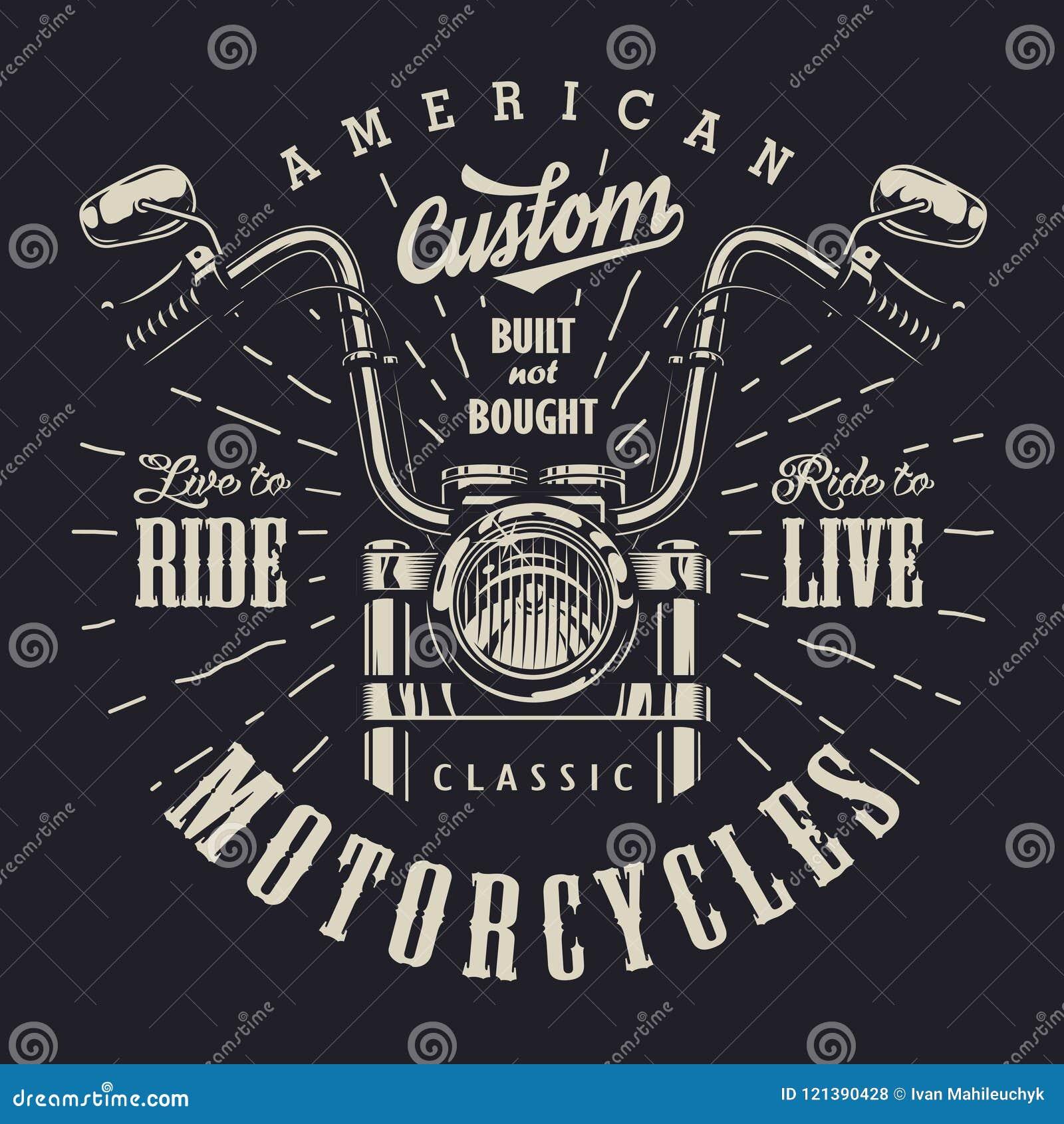 Logotype de monochrome de motocyclette de vintage