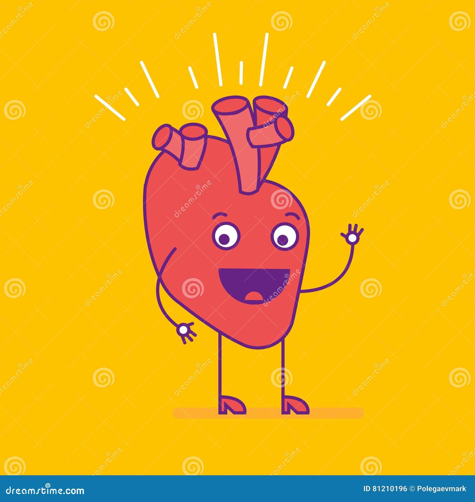Logotype de sourire heureux de coeur Logo gai de personnage de dessin animé dedans