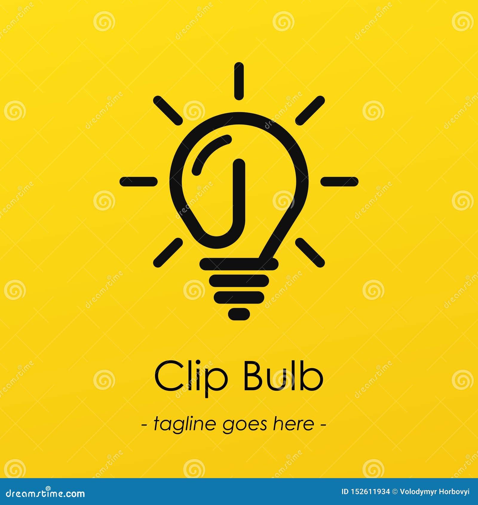 Logotype di simbolo della lampadina con l idea creativa, simbolo della clip in lampadina