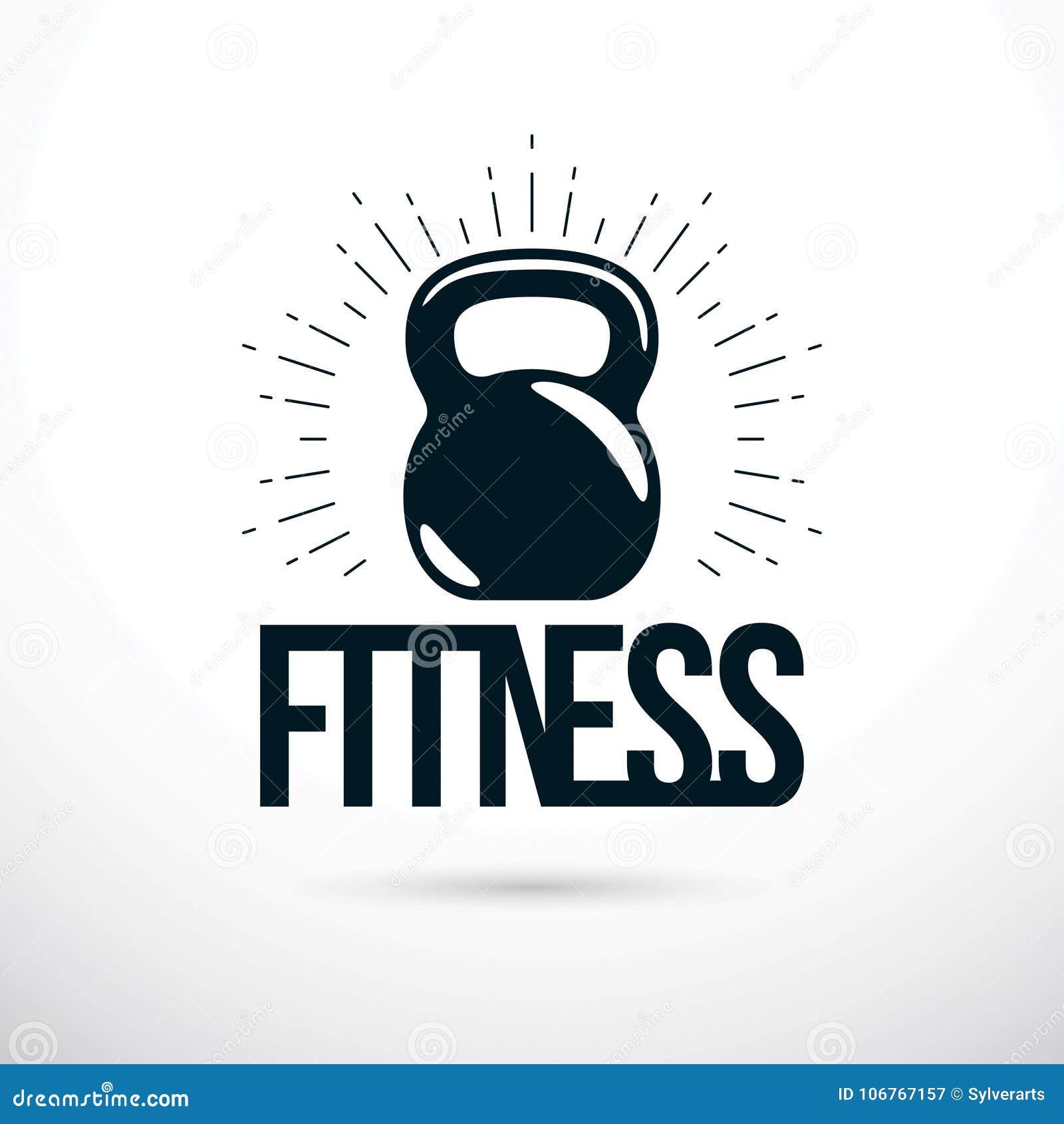 Logotype per la palestra pesante di sport di forma fisica o della palestra, vettore