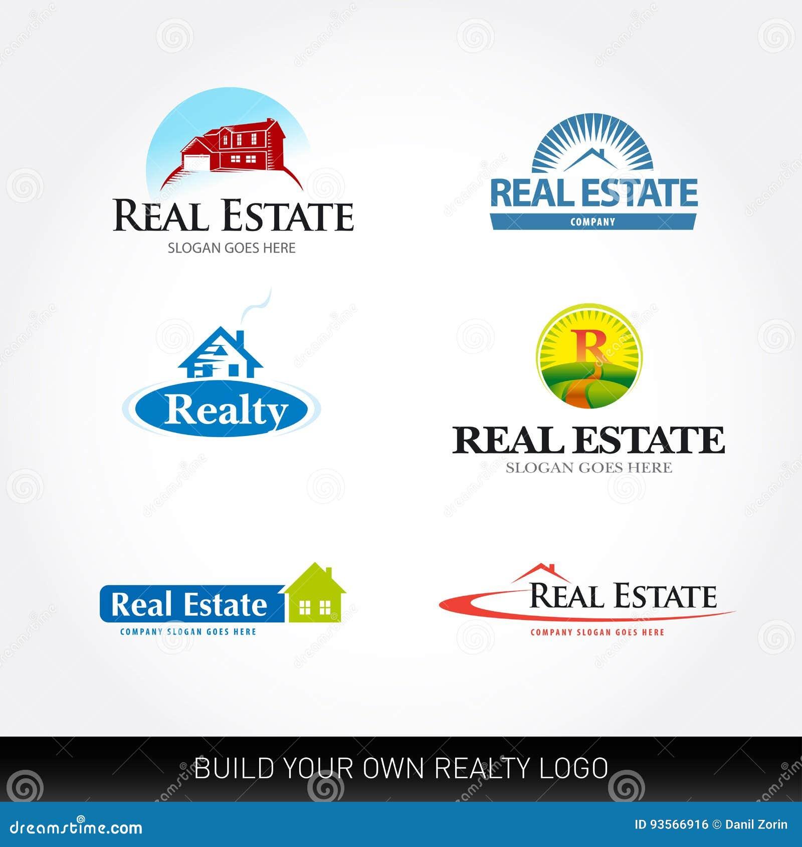 Logotypes de vecteur d immobiliers réglés Calibre de conception de logo d immobiliers Logos d objet immobilier