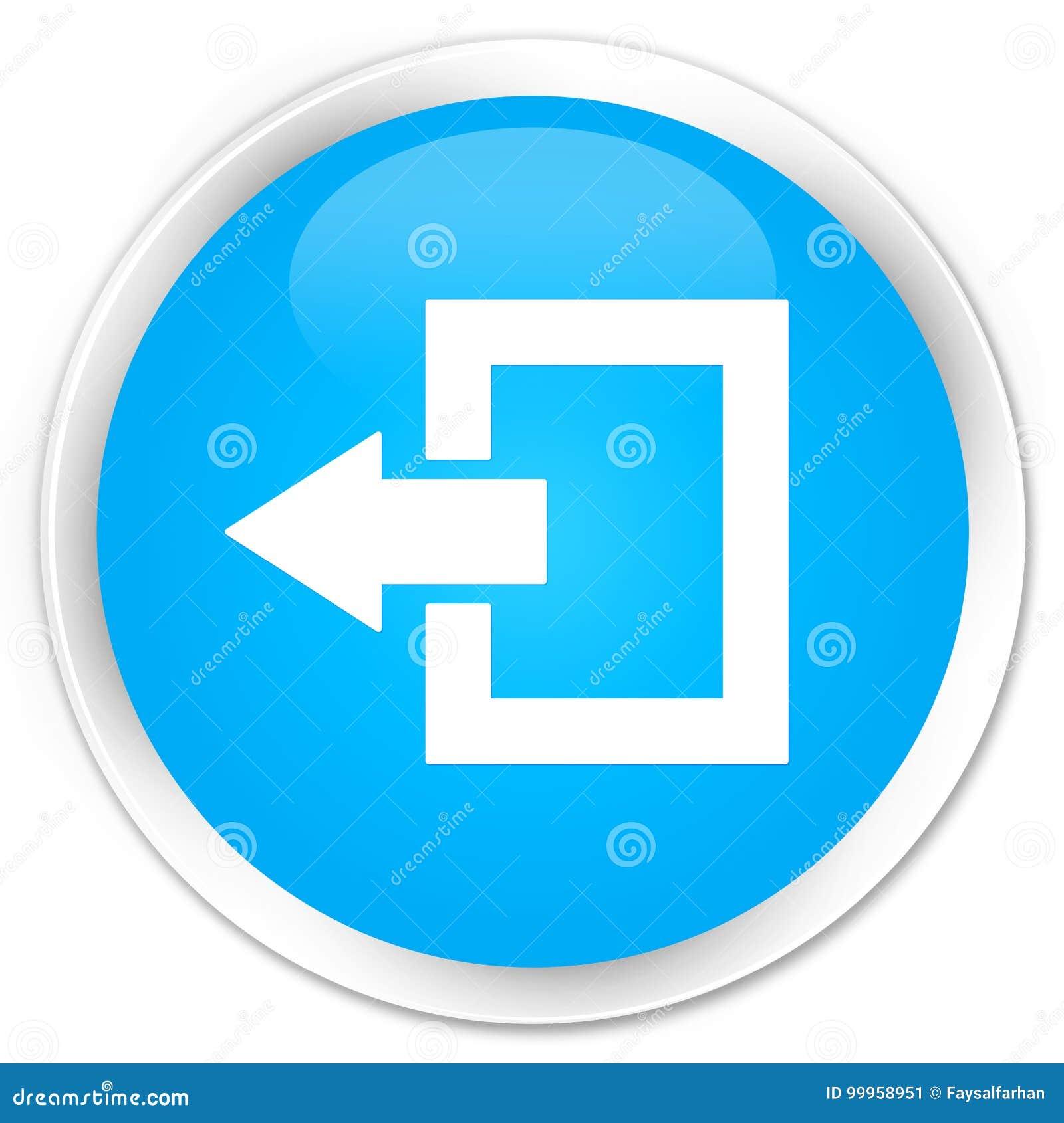 Logout de cyaan blauwe ronde knoop van de pictogrampremie