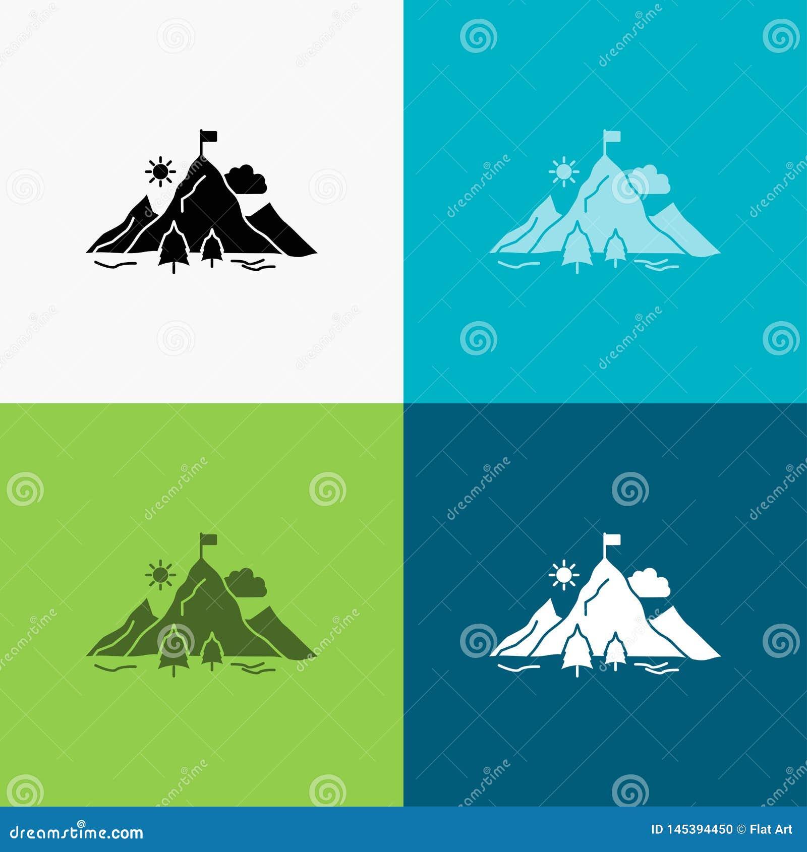 Logro, bandera, misión, montaña, icono del éxito sobre diverso fondo dise?o del estilo del glyph, dise?ado para el web y el app E