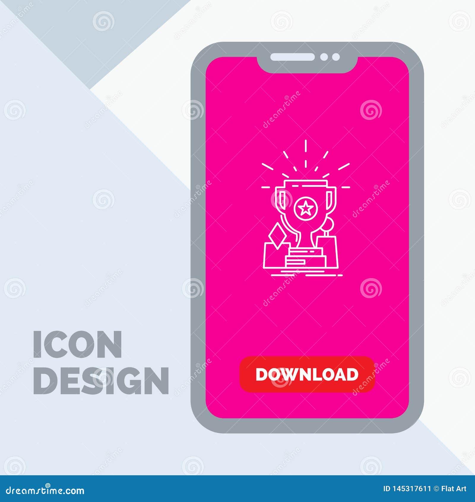 Logro, premio, taza, premio, línea icono del trofeo en el móvil para la página de la transferencia directa