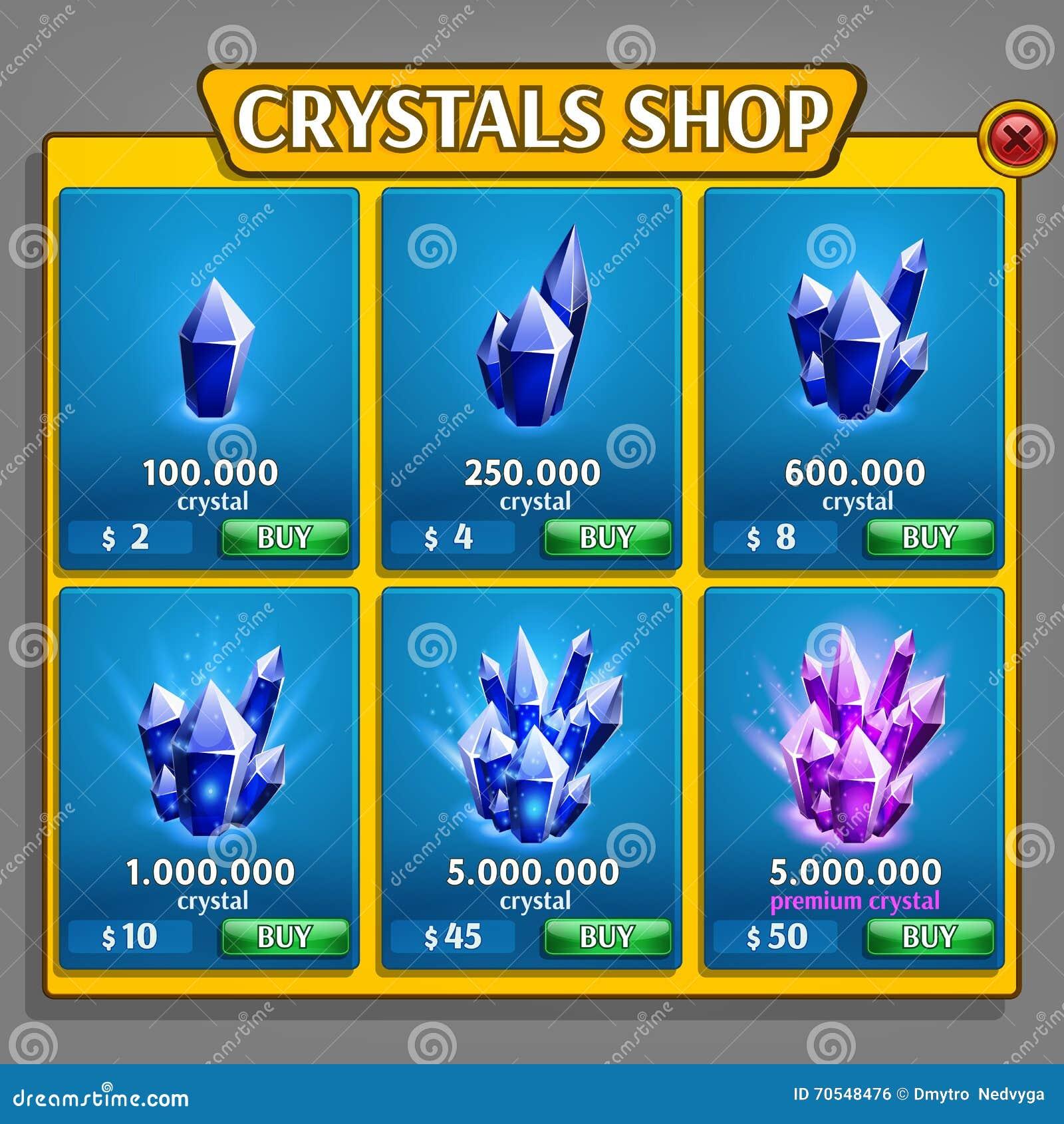 Loja do painel dos cristais, ativo do jogo com ícones minerais