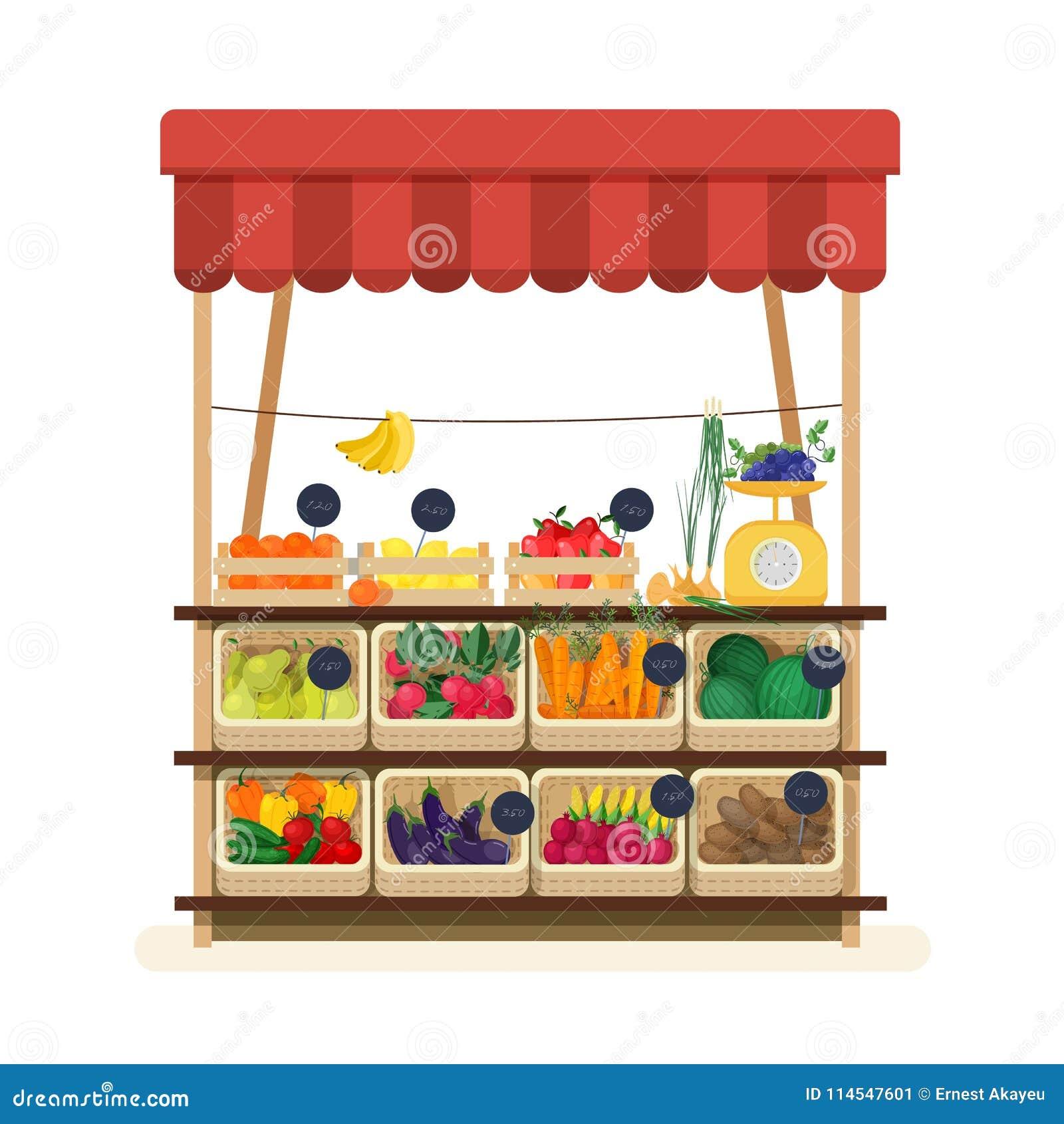 Loja do verdureiro s com toldo, mercado ou contador com frutos, vegetais e preços Lugar para vender o alimento