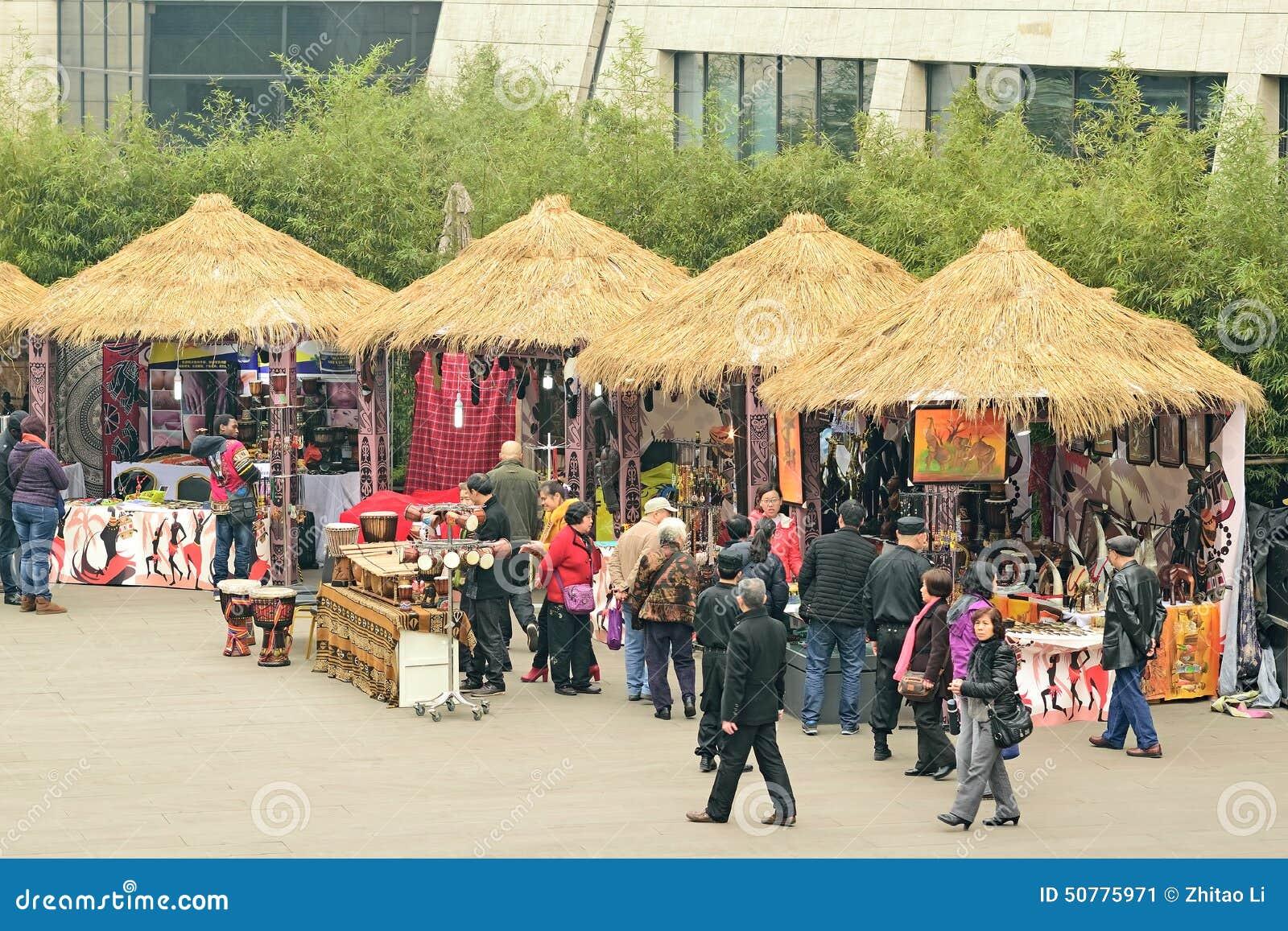 Lojas cobridas com sapê China- da casa de campo de Chengdu
