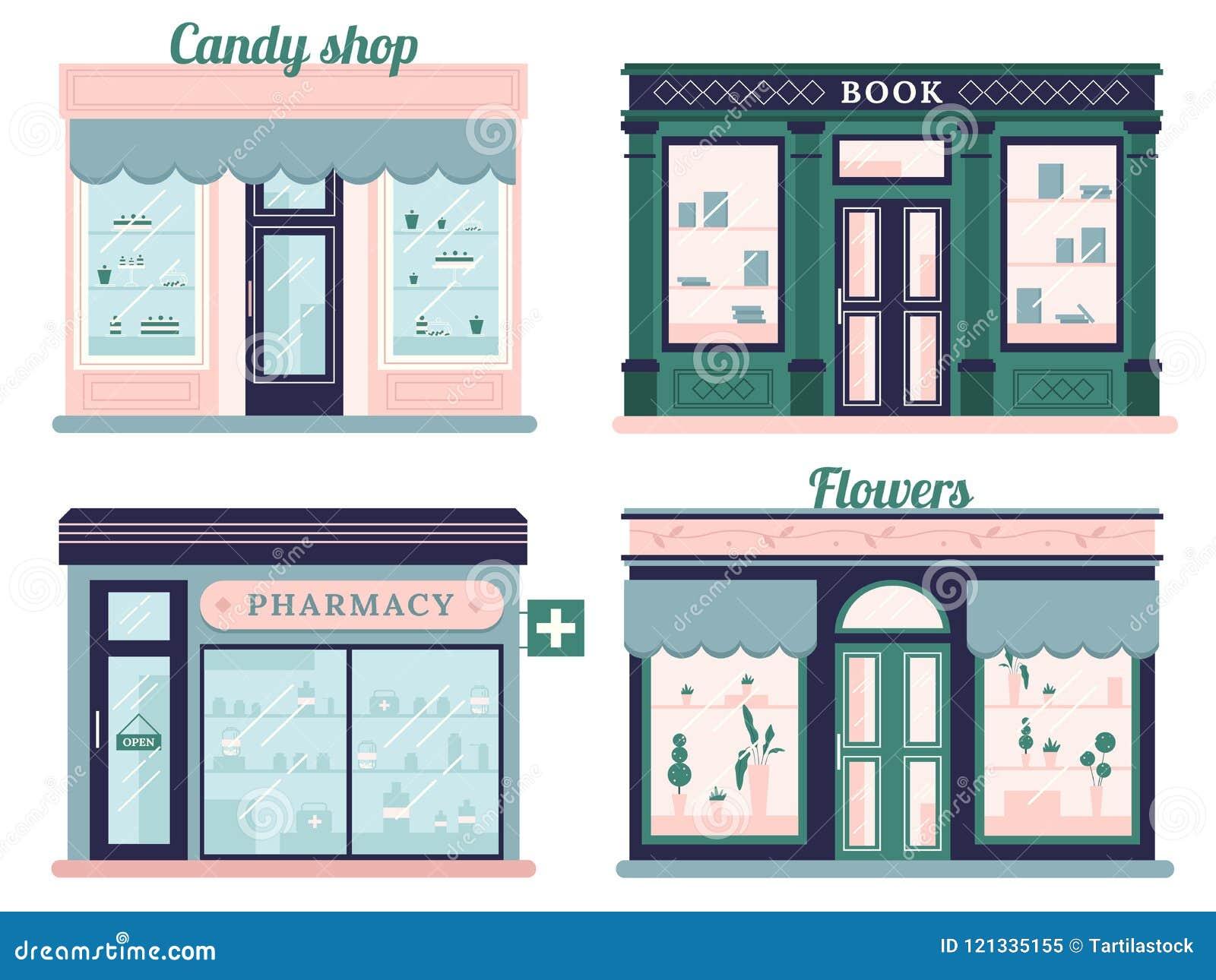 Lojas modernas ajustadas Fachada da loja dos doces e livrarias urbanas Farmácia varejo do Local e boutique das flores outdoor