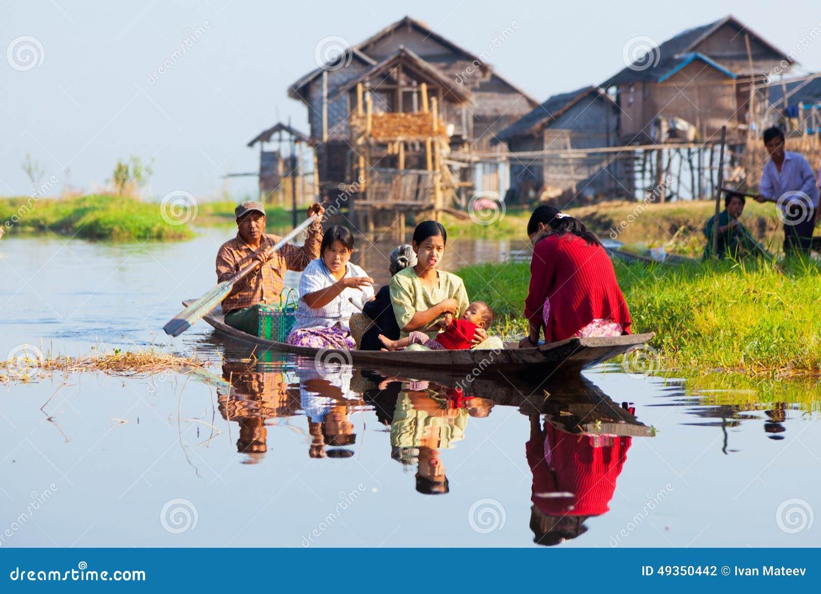 Lokale Leute im Inle See, Myanmar