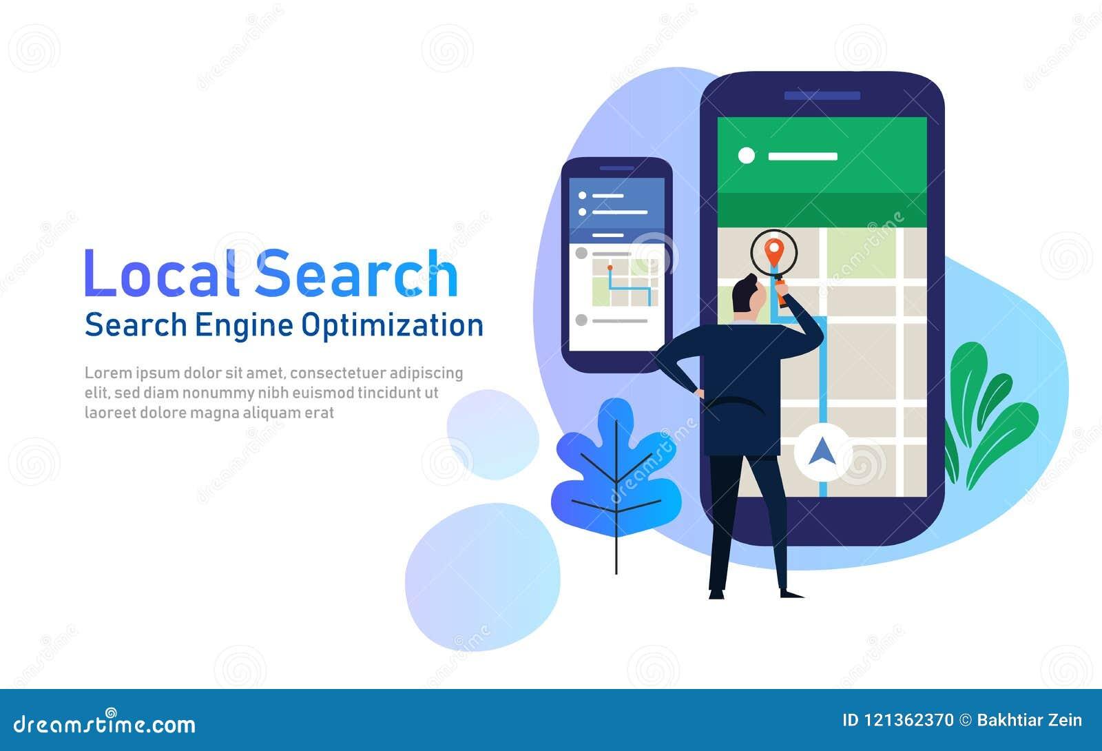Lokale onderzoek marketing elektronische handel concept de mobiele optimalisering van de plaatsseo zoekmachine grote telefoon met