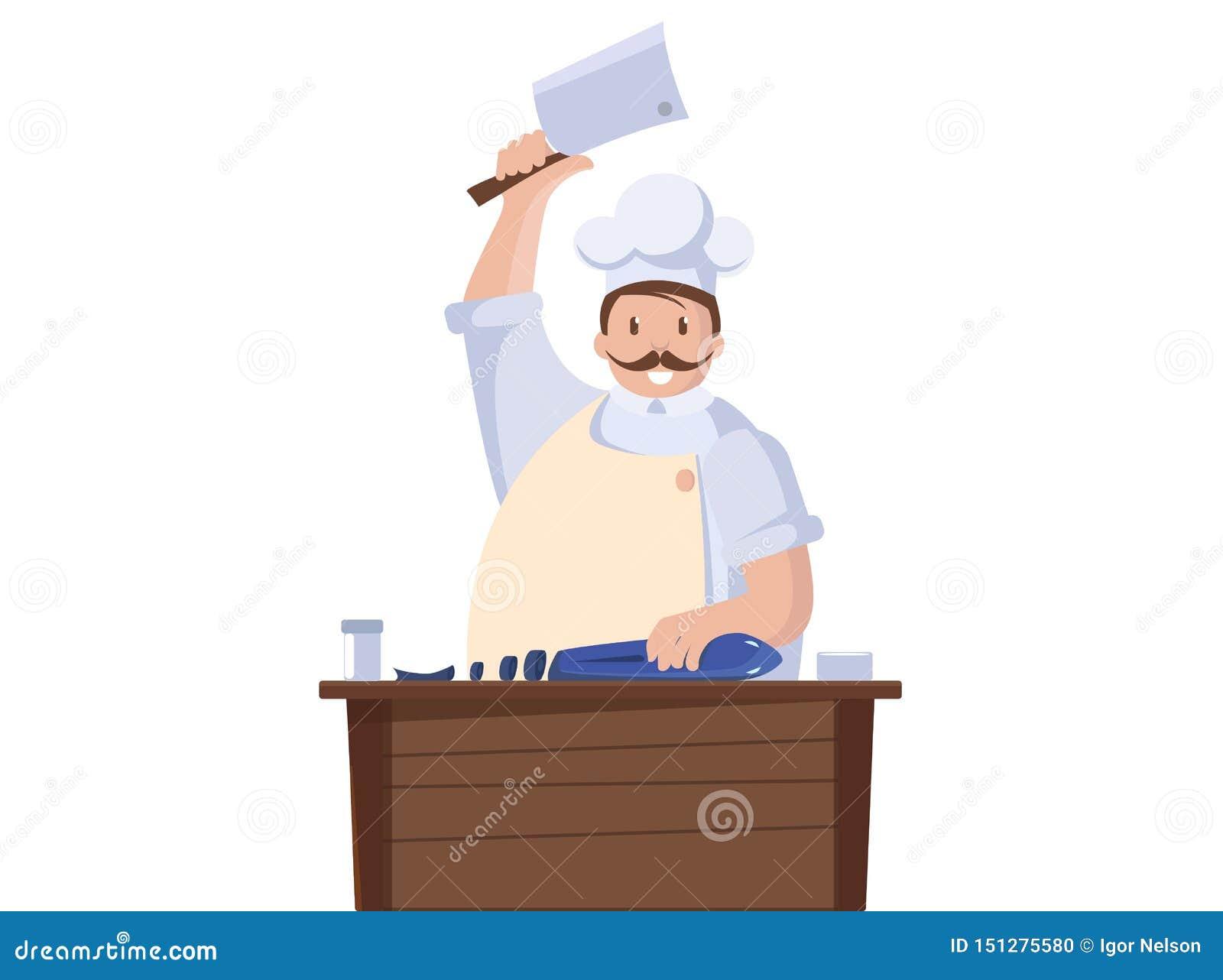 Lokalisierte Illustration des Chefkochs Fische Chefcharakter mit Messer Vektor