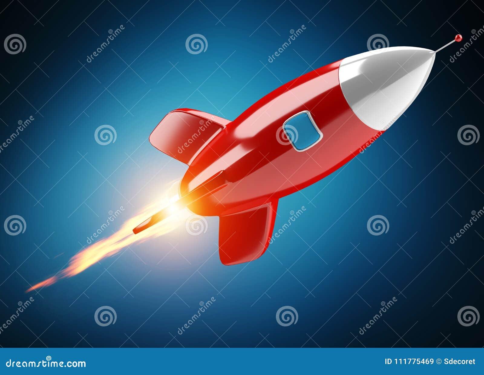 Lokalisierte moderne digitale Wiedergabe der Rakete 3D