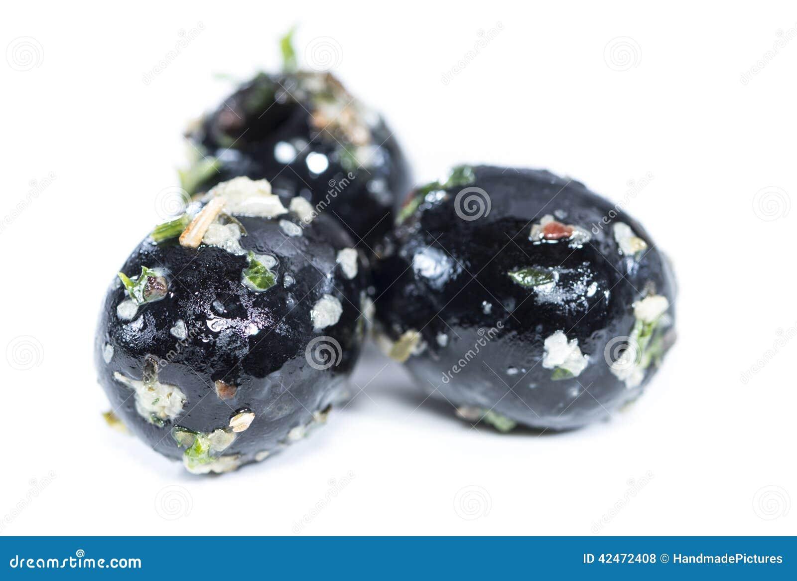 Lokalisierte schwarze Oliven