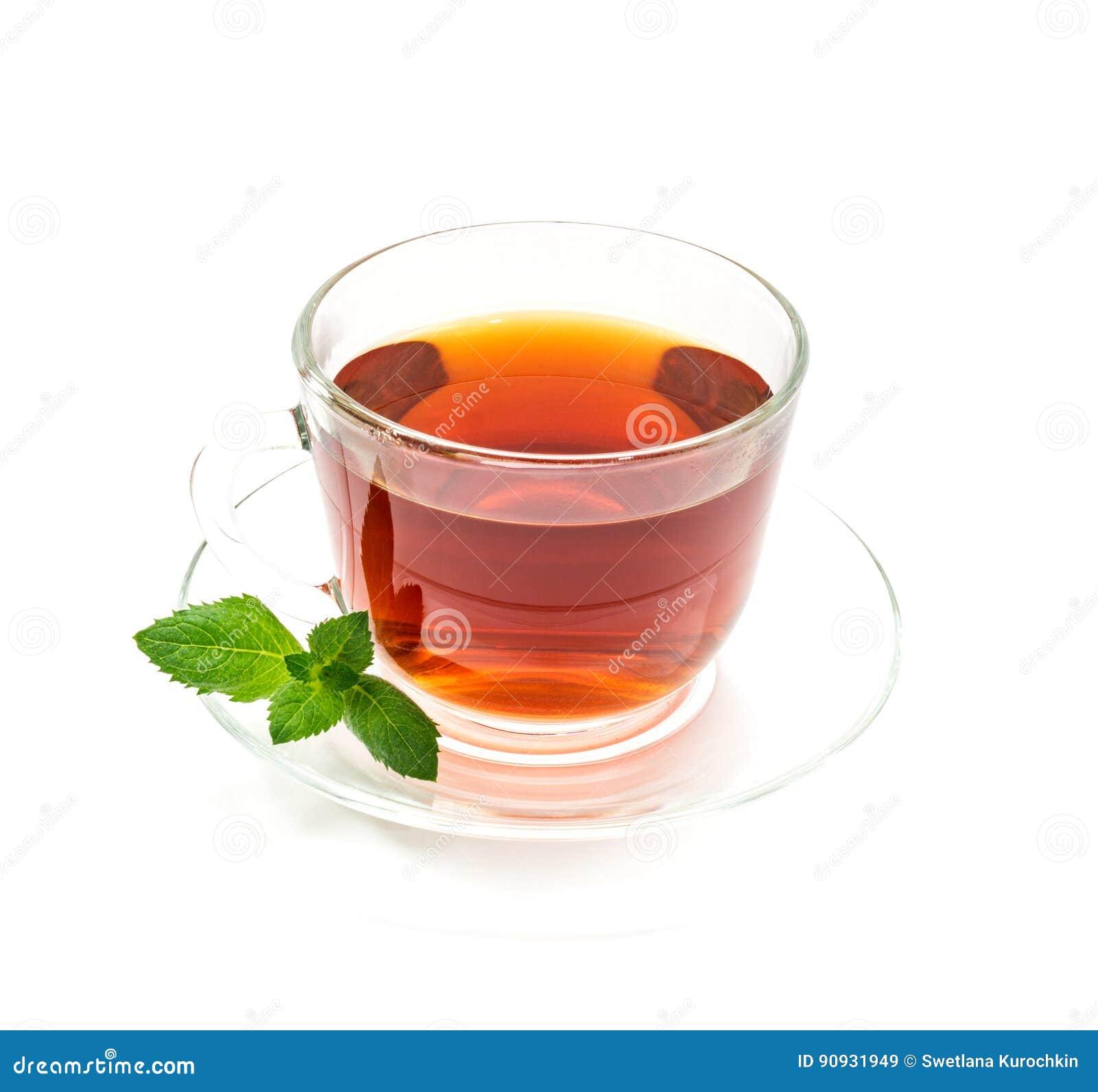 Lokalisierte Transparente Schale Schwarzer Tee Mit Tadellosem Blatt