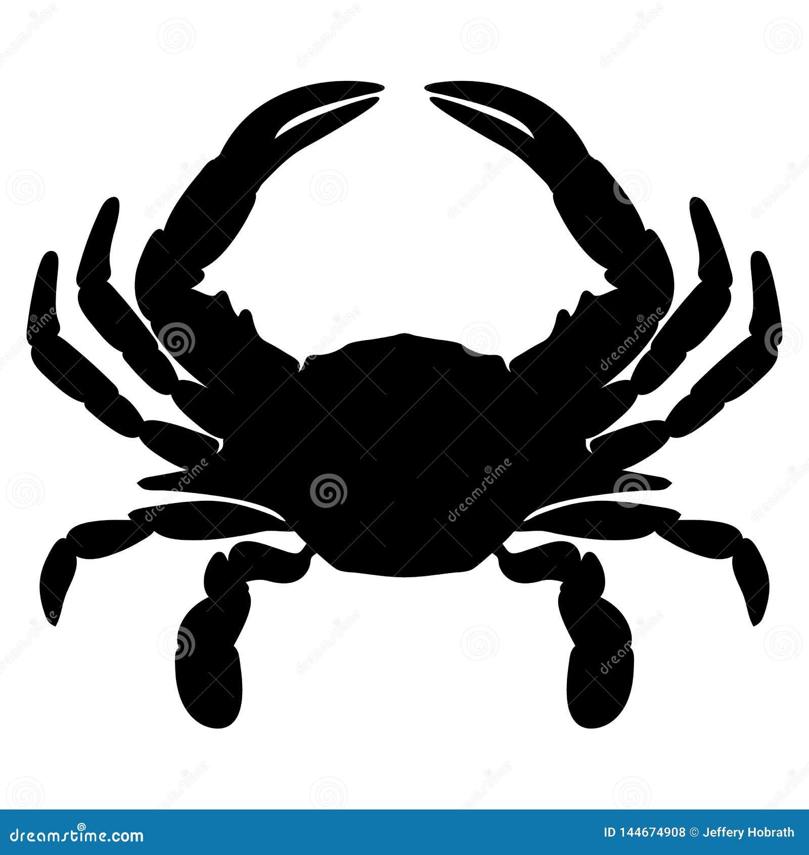 Lokalisierte Vektorillustration der Krabbe Schattenbild