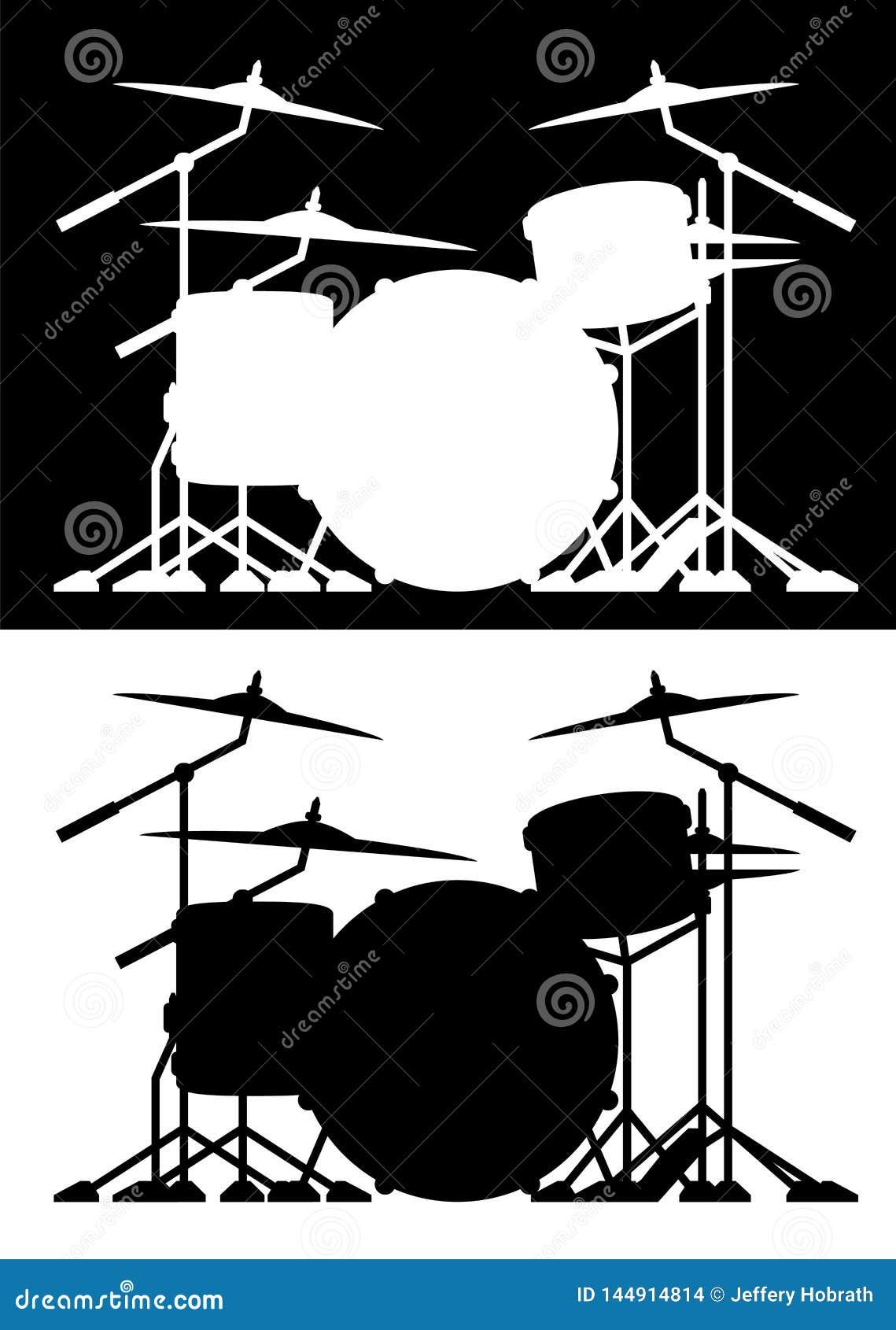 Lokalisierte Vektorillustration des Trommelsatzes Schattenbild in beiden Schwarzweiss