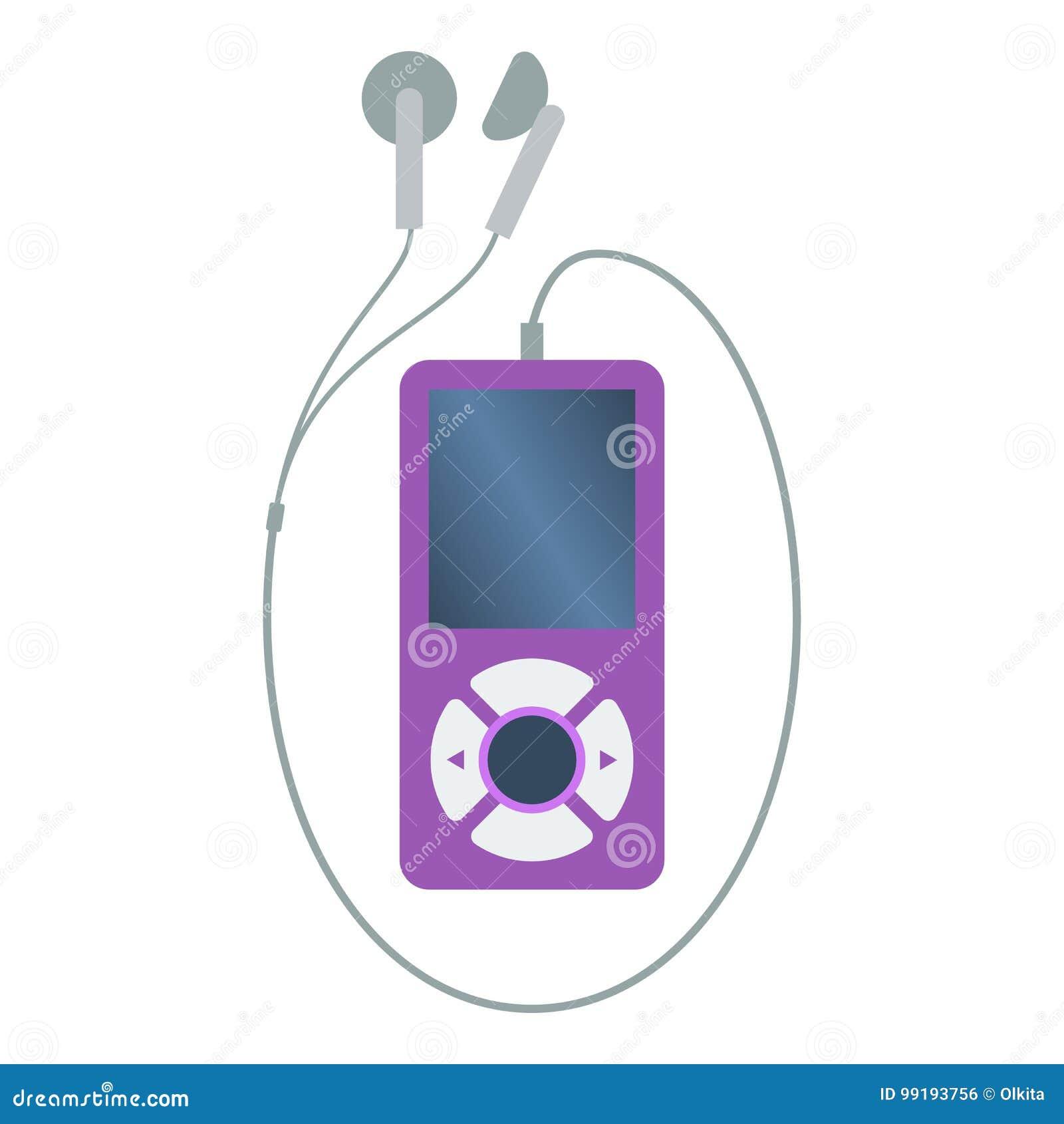 Lokalisierter farbiger purpurroter Spieler der Musik mp3 mit Kopfhörern auf weißem Hintergrund Flache Designikone