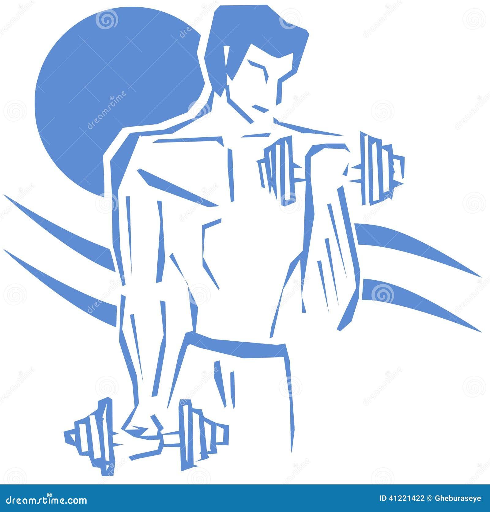Lokalisierter Mann, der Gewichtheben tut