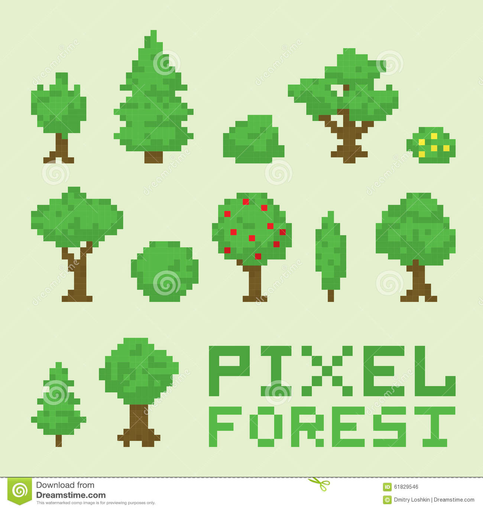 Lokalisierter Vektorsatz der Pixelkunst Wald