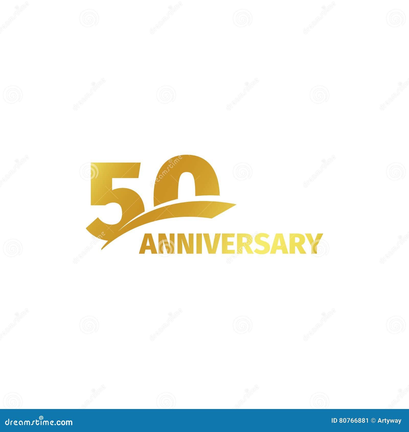Lokalisiertes abstraktes goldenes 50. Jahrestagslogo auf weißem Hintergrund Firmenzeichen mit 50 Zahlen Fünfzig Jahre Jubiläumfei