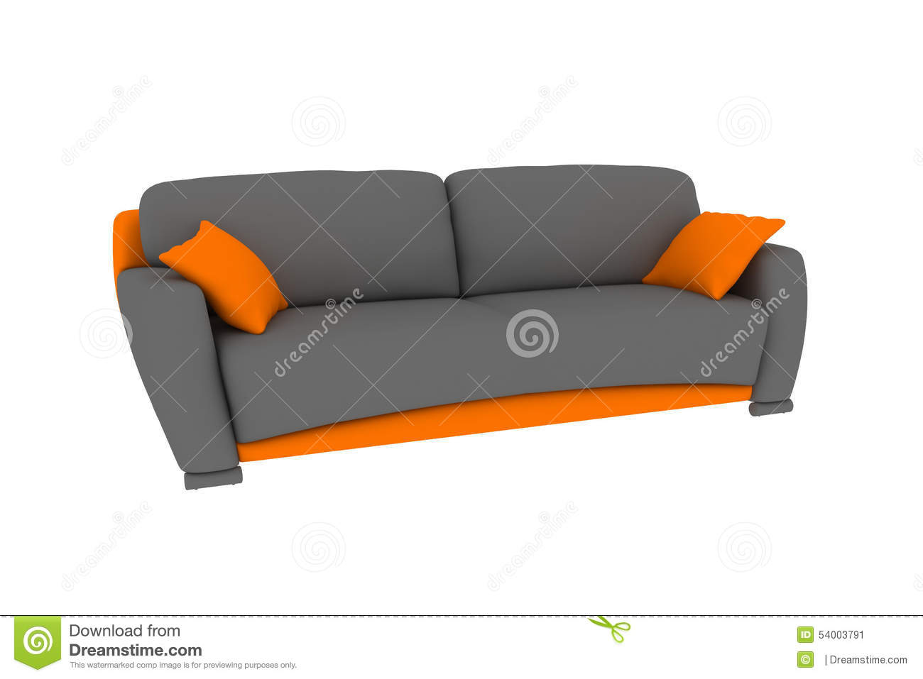 Lokalisiertes grau-orange Sofa