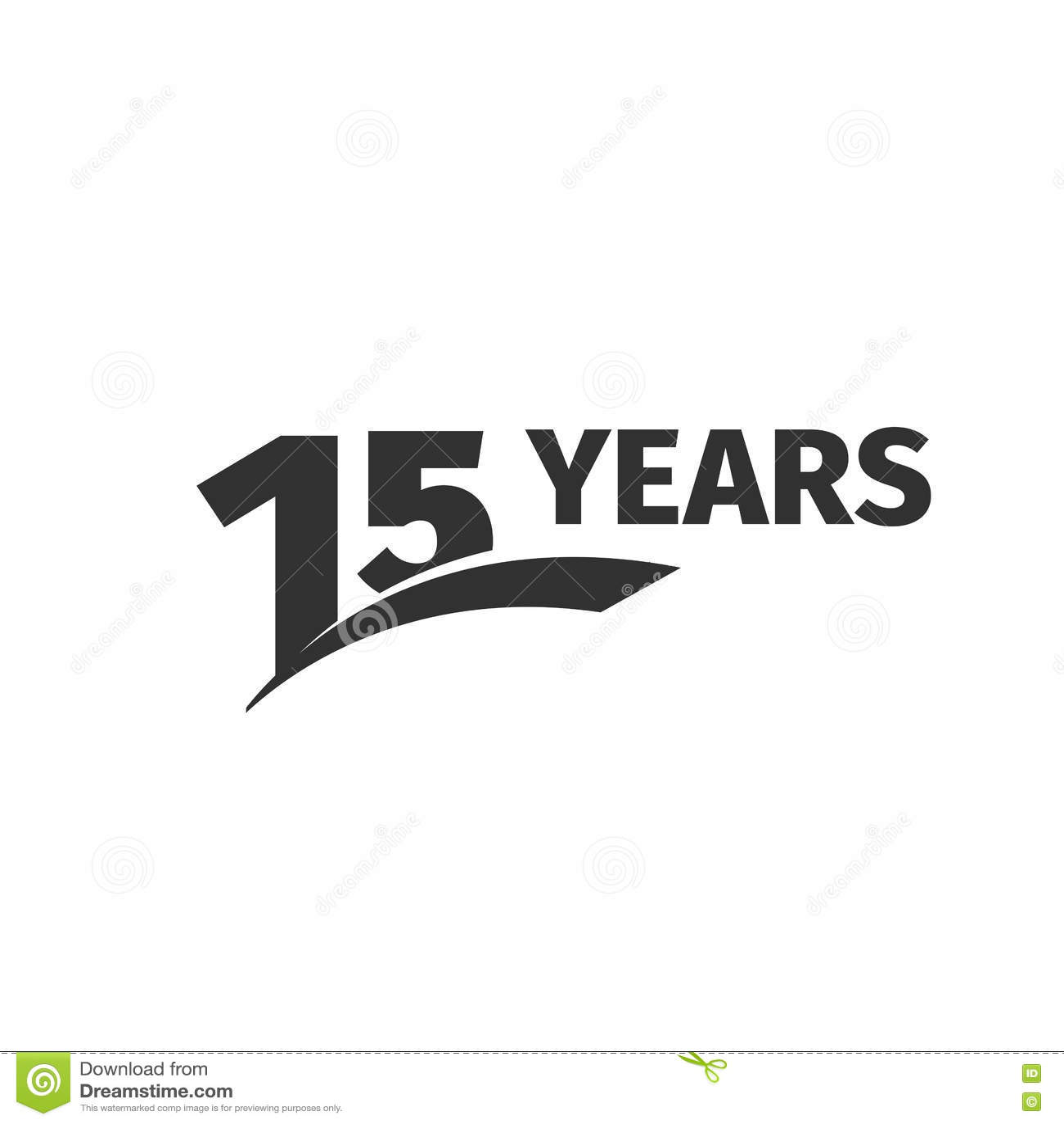 Lokalisiertes 15. Jahrestagslogo des abstrakten Schwarzen auf weißem Hintergrund Firmenzeichen mit 15 Zahlen Fünfzehn Jahre Jubil