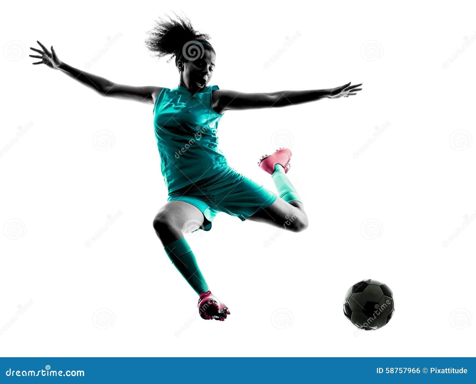 Lokalisiertes Schattenbild des Jugendlichmädchenkinderfußballspielers