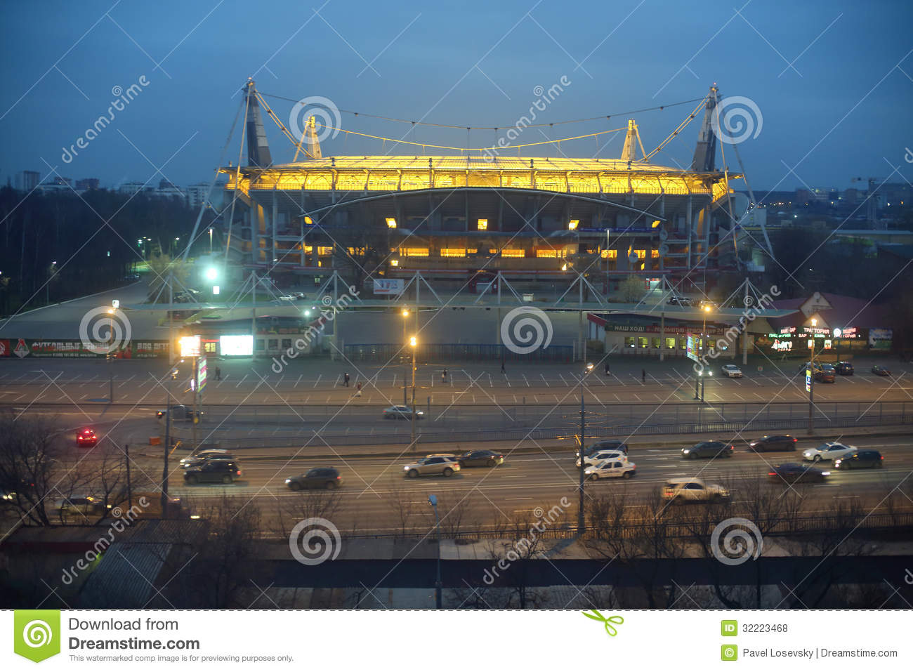 Football stadium at night on nov 18 2012 in moscow russia stadium