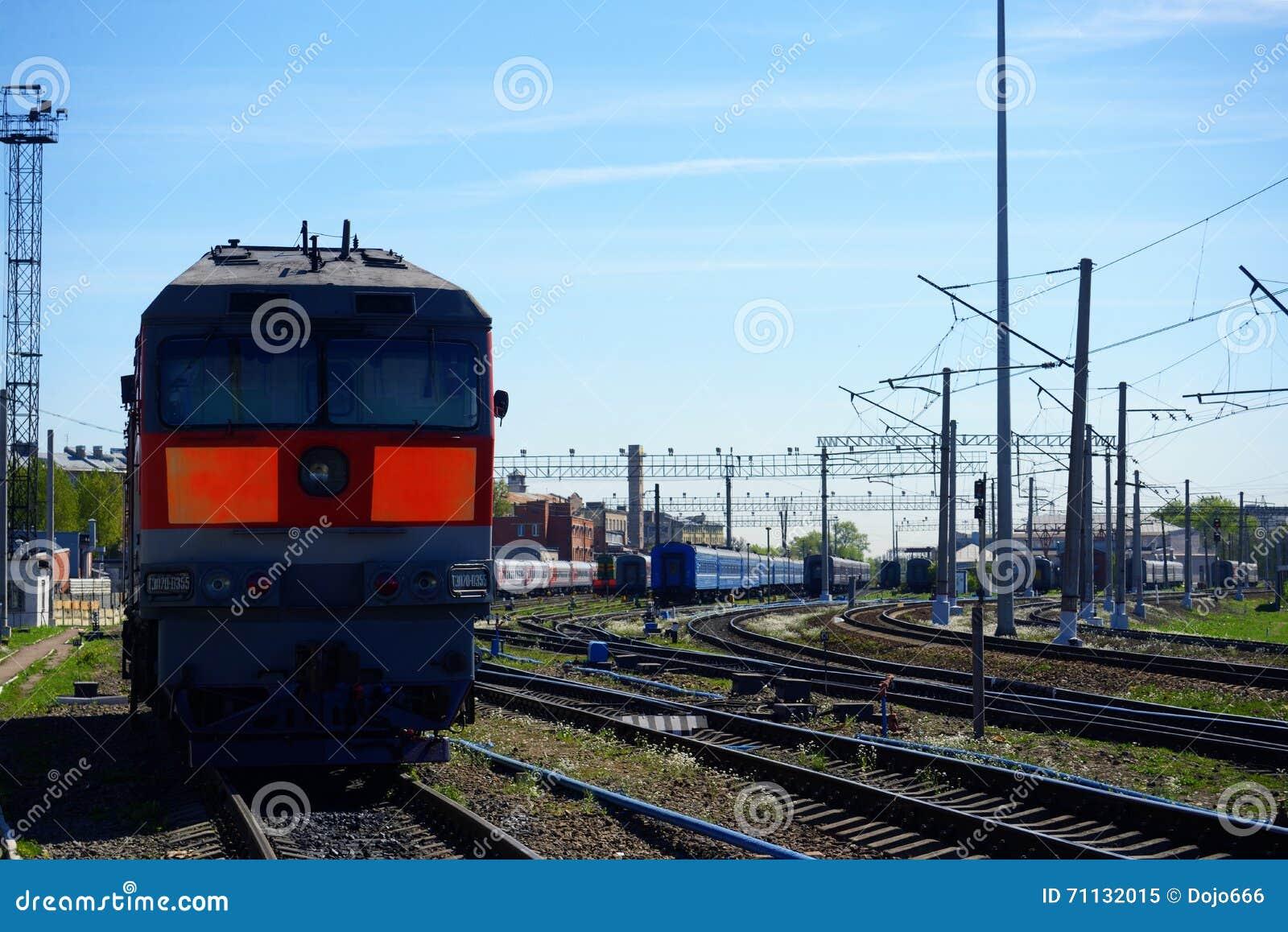 Lokomotywa pociąg na poręczach