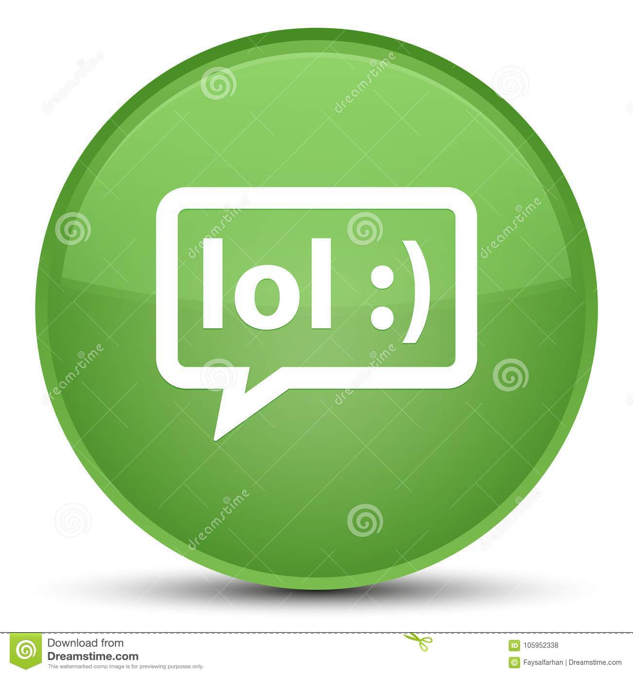 LOL bubble icon special soft green round button
