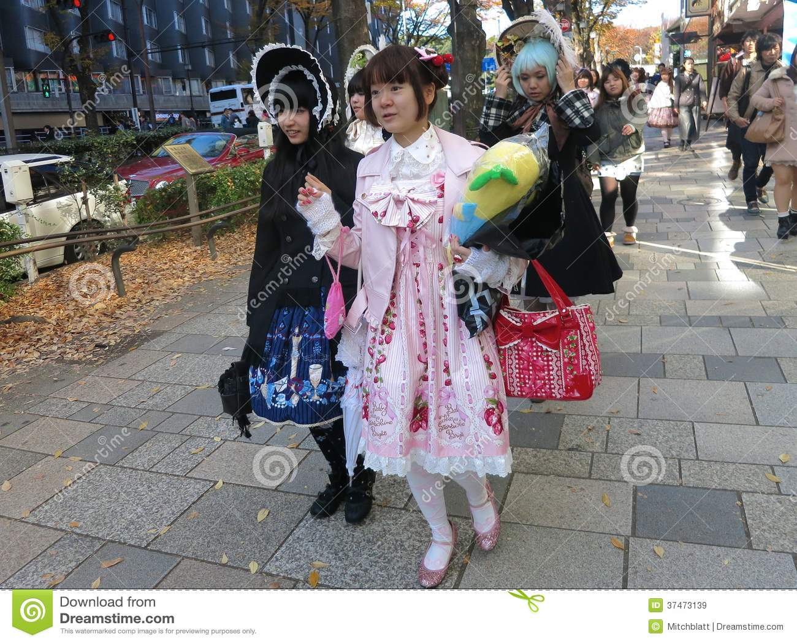 Lolita Fashion Girls Walking Down the Street