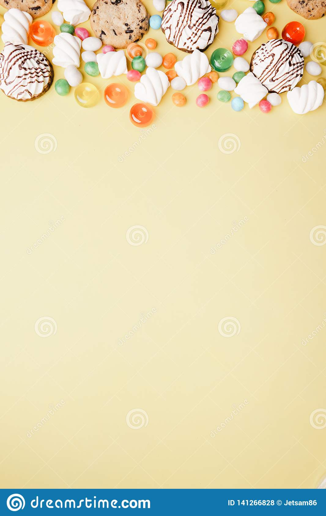 Cookies and candy background, confectionery design