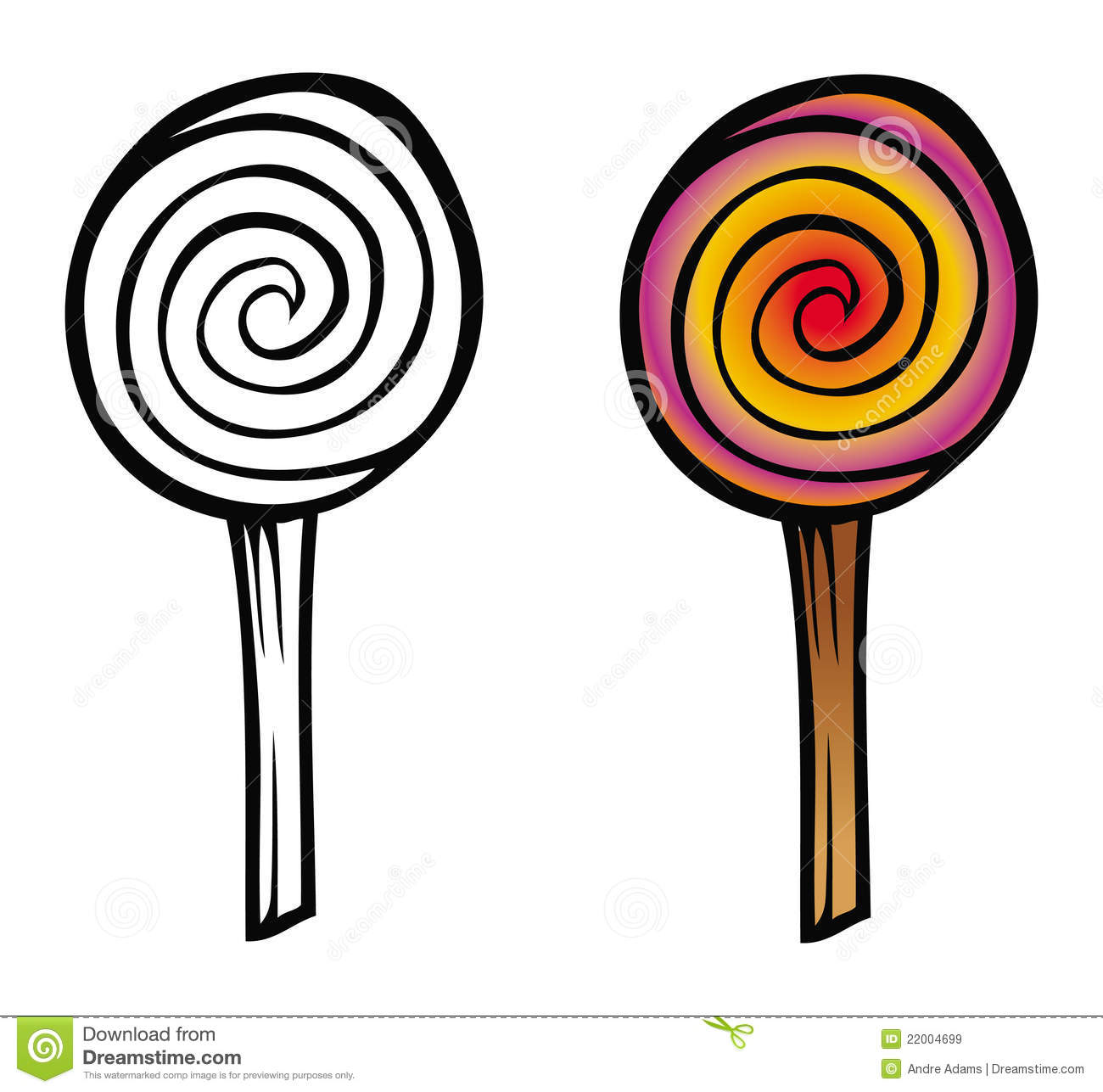 Cartoon illustration of a lollipop coloring book.