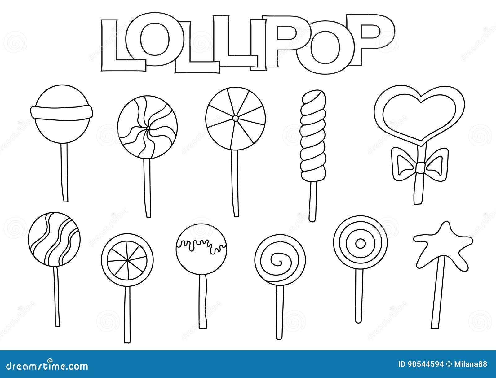 Lollipop Elements Hand Drawn Set. Coloring Book Template. Outline ...