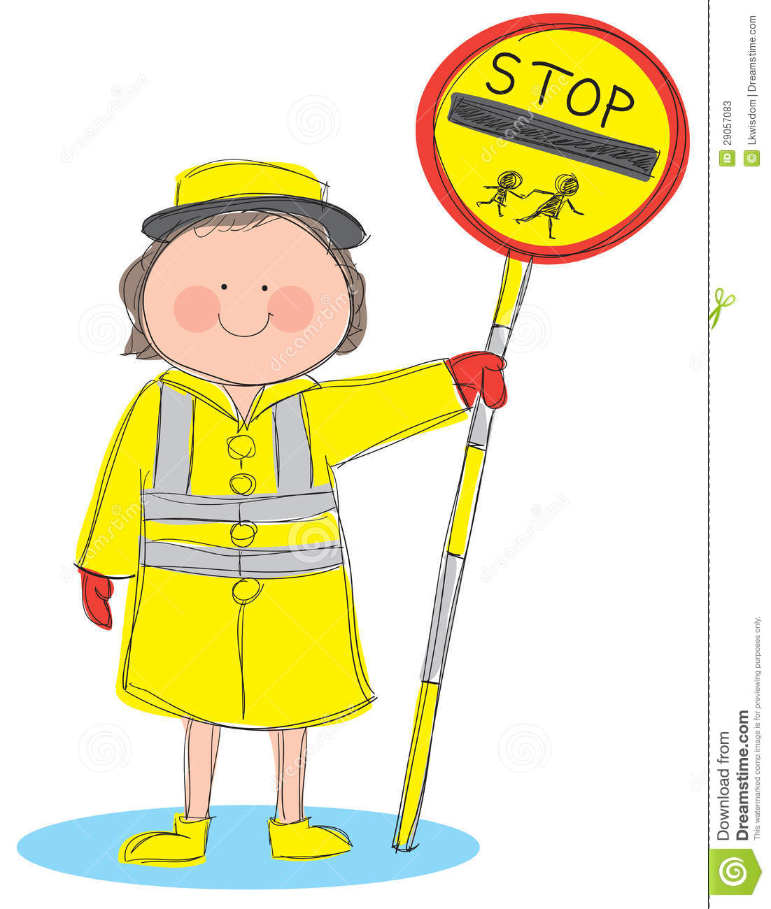 Hand drawn picture of lollipop lady holding a stop sign. Illustrated ...