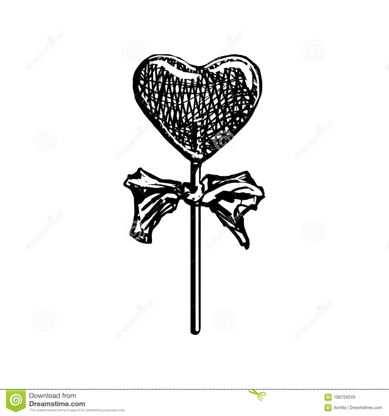 lollipop sketch heart shaped candy on stick isolated on white
