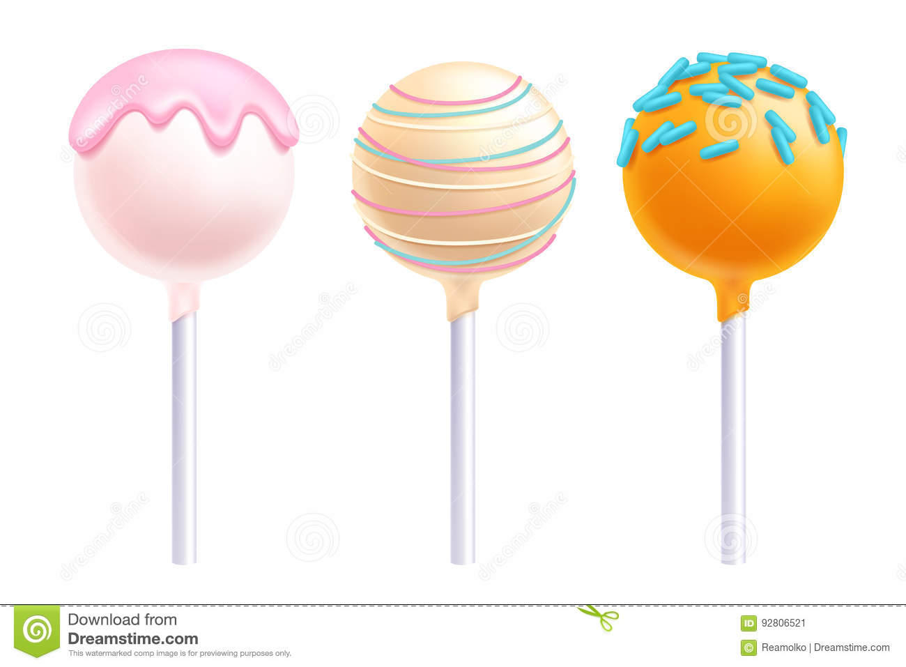 lollipops cake pops set vector illustration stock vector image 92806521. Black Bedroom Furniture Sets. Home Design Ideas