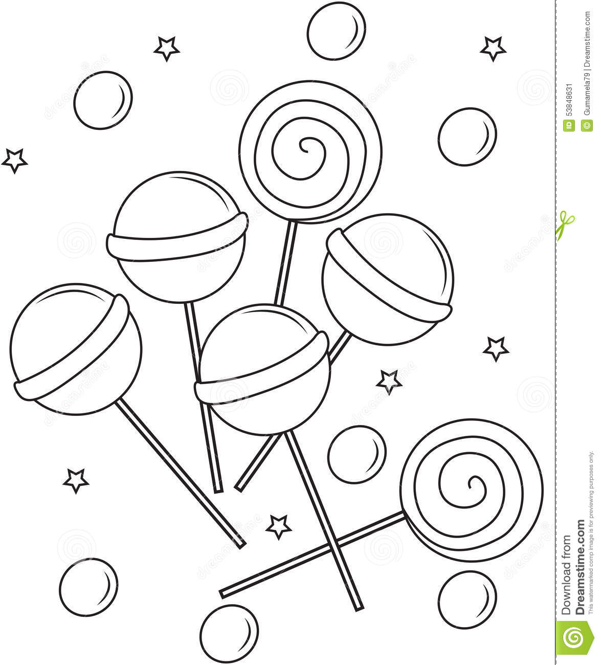 - Lollipops Coloring Page Stock Illustration. Illustration Of