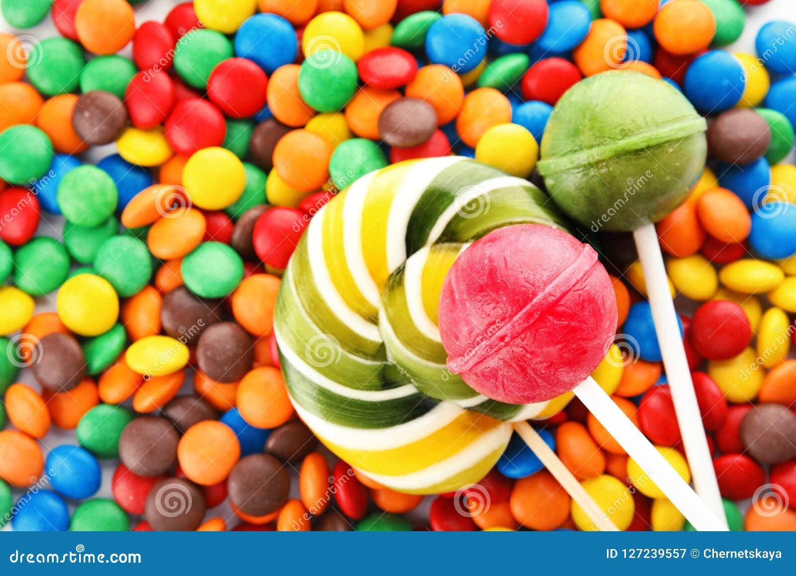 Lollys en kleurrijk suikergoed als achtergrond
