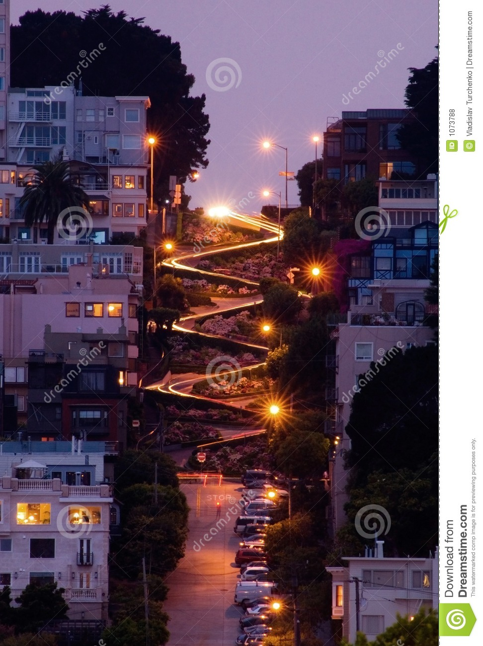 Lombard Street At Night Stock Photo Image Of Night
