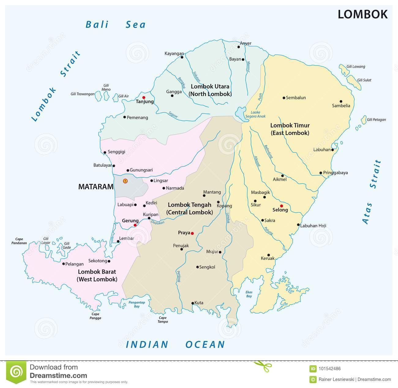 Lombok administrative and political map indonesia stock vector download comp freerunsca Gallery