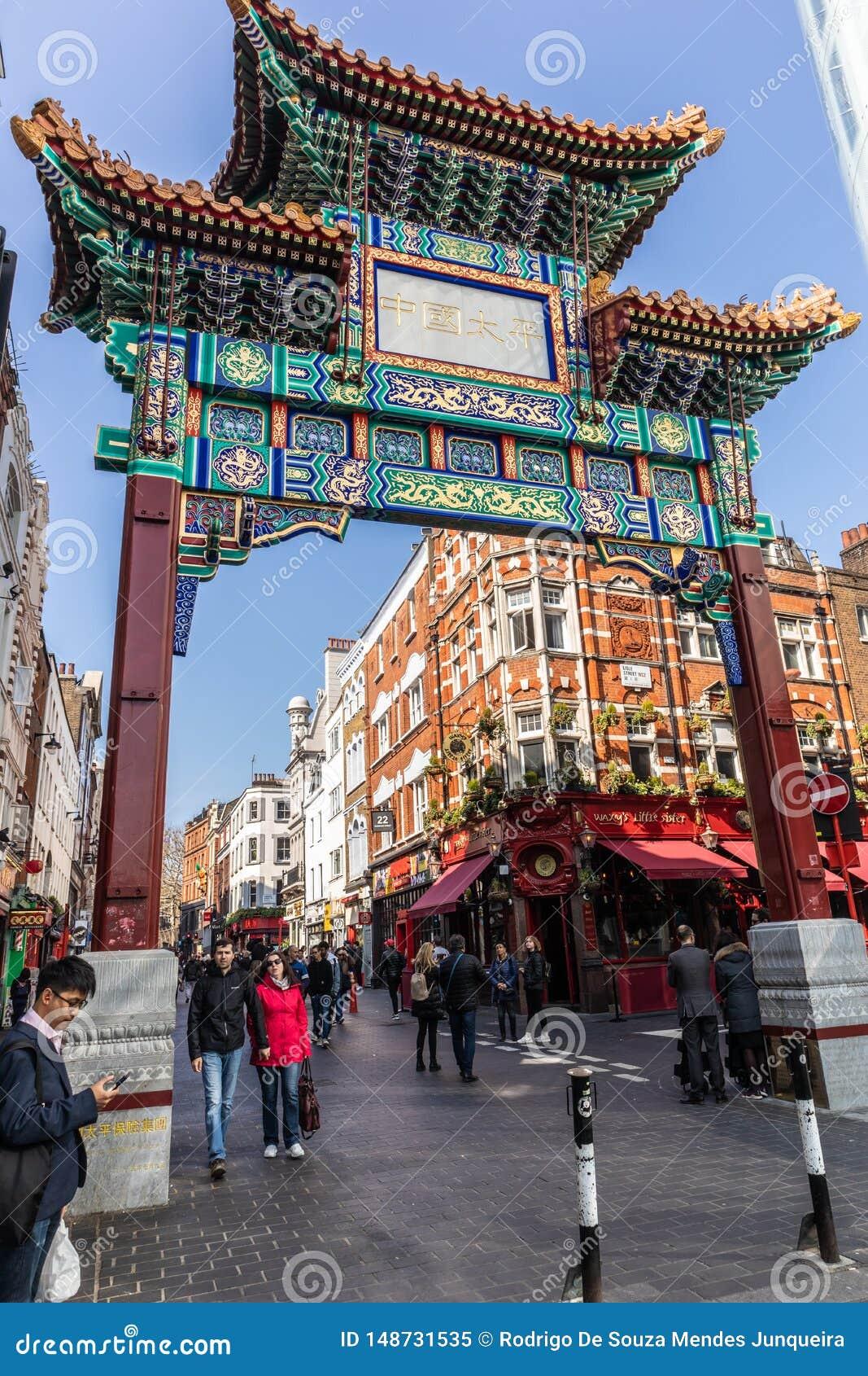 Londen, Engeland - APRIL 1, 2019: De Stadsgebied Van China ...